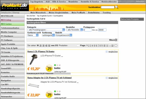Screenshot www.promarkt.de