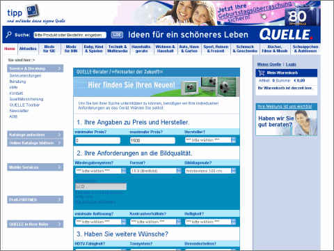Screenshot www.quelle.de