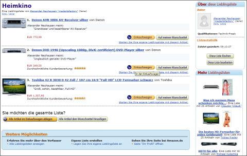 Amazon Produktliste