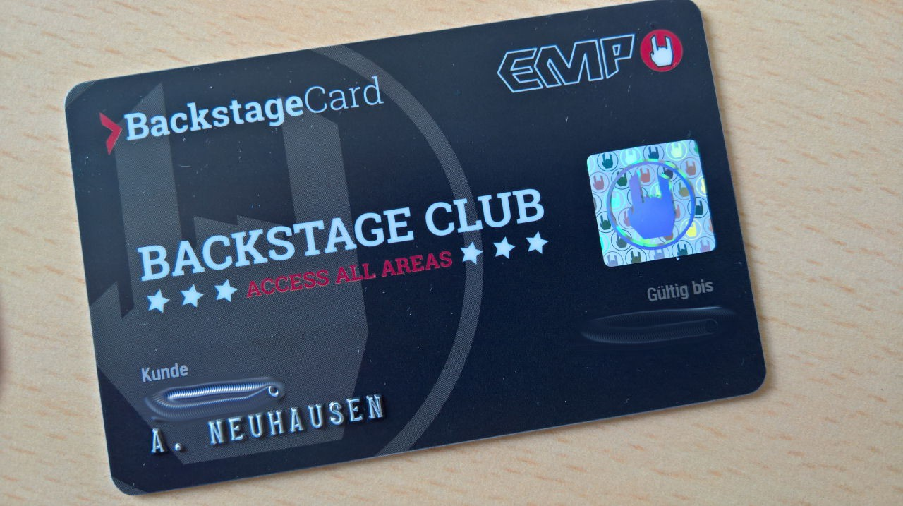 EMP Backstage Club BackstageCard
