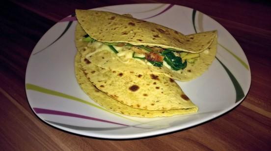 Quesadilla mit Hähnchen und Spinat
