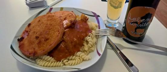 """Fastenzeitende mit Jägerschnitzel """"Schulspeisung"""" und Witbier"""