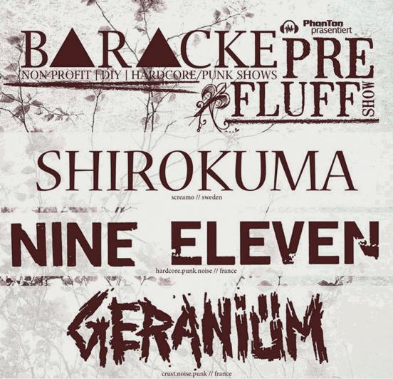 Shirokuma, Nine Eleven & Geraniüm in der Baracke Jena